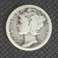 1928-S SmS MERCURY DIME 10c G/AG