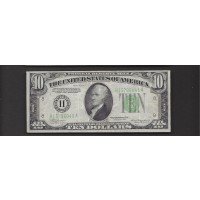 1934 Yellow Green Seal $10 FEDERAL RESERVE NOTE $10 VF20
