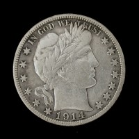1914-S BARBER HALF DOLLAR 50c VF25