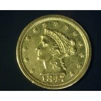 1847-O LIBERTY $2 50 GOLD $2.50 AU58