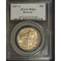 1917-S Rev WALKING LIBERTY HALF DOLLAR 50c MS63 PCGS