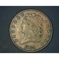 1834 CLASSIC HEAD HALF CENT 1/2c EF40