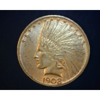 1908-D No Motto INDIAN $10 GOLD $10 AU58/MS60