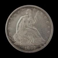 1861-S LIBERTY SEATED HALF DOLLAR 50c AU50