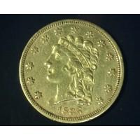 1836 Script 8 CLASSIC HEAD $2 50 GOLD $2.50 AU50