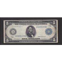 1914 Blue Seal $5 FEDERAL RESERVE NOTE $5 VG10