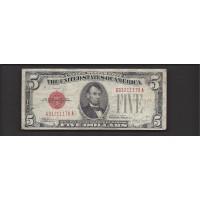 1928-E $5 UNITED STATES NOTE $5 VG8
