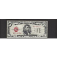 1928-F Wide $5 UNITED STATES NOTE $5 VF20