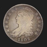 1808 CAPPED BUST HALF DOLLAR 50c VF25