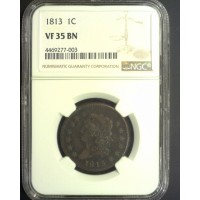 1813 CLASSIC HEAD LARGE CENT 1c VF35 NGC Brn