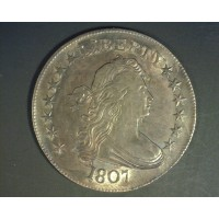 1807 DRAPED BUST HALF DOLLAR 50c AU58