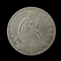 1857-S LIBERTY SEATED HALF DOLLAR 50c AU50