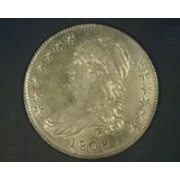 1808/7 CAPPED BUST HALF DOLLAR 50c AU55