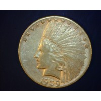 1909-S INDIAN $10 GOLD $10 AU50