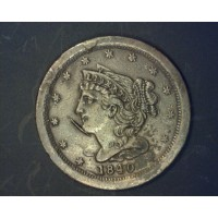 1840 BRAIDED HAIR HALF CENT 1/2c MS63 Brn