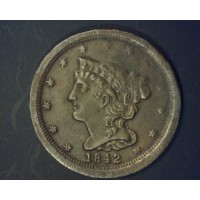 1842 BRAIDED HAIR HALF CENT 1/2c MS60