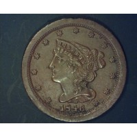 1846 BRAIDED HAIR HALF CENT 1/2c MS64 Brn