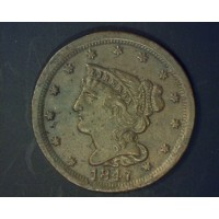 1847 BRAIDED HAIR HALF CENT 1/2c MS63