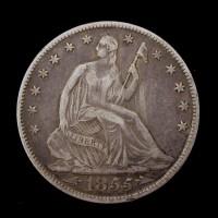 1855-O LIBERTY SEATED HALF DOLLAR 50c EF40
