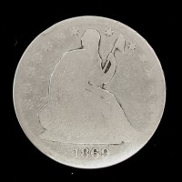 1869-S LIBERTY SEATED HALF DOLLAR 50c AG-G