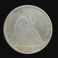 1870-S LIBERTY SEATED HALF DOLLAR 50c EF40