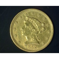 1852 LIBERTY $2 50 GOLD $2.50 AU50