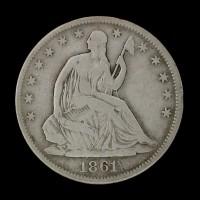 1861 LIBERTY SEATED HALF DOLLAR 50c VG10