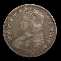 1824 CAPPED BUST HALF DOLLAR 50c EF48