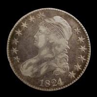 1824/1 CAPPED BUST HALF DOLLAR 50c VF30