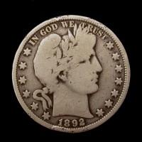1892-O BARBER HALF DOLLAR 50c VG8