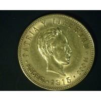 CUBA, 1915 5 Pesos AU58 KM19
