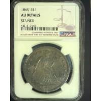 1848 LIBERTY SEATED DOLLAR $1 AU50 Details NGC