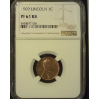 1909 LINCOLN WHEAT CENT 1c PF64 NGC RB