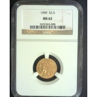 1909 INDIAN $2 50 GOLD $2.50 MS62 NGC