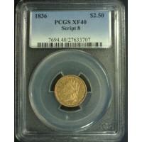 1836 Script 8 CLASSIC HEAD $2 50 GOLD $2.50 EF40 PCGS