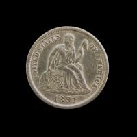 1891-S LIBERTY SEATED DIME 10c AU50