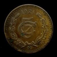 MEXICO, 1921 5 Centavos VF30 KM422