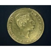 SPAIN, 1876 (76) 25 Pesetas AU50 KM673