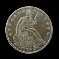 1853-O Arr LIBERTY SEATED HALF DOLLAR 50c AU58