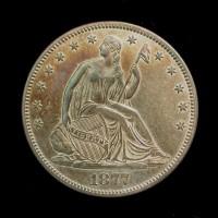 1877 Ty'2 Rev LIBERTY SEATED HALF DOLLAR 50c AU58 SEMI P/L