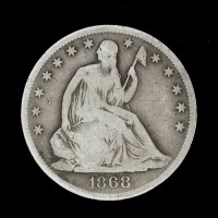1868-S LIBERTY SEATED HALF DOLLAR 50c VG8