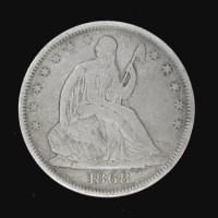 1868-S LIBERTY SEATED HALF DOLLAR 50c VF/EF