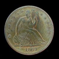 1869 LIBERTY SEATED HALF DOLLAR 50c EF45