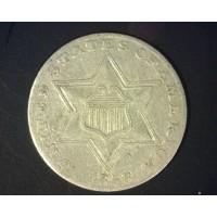 1858 SILVER THREE CENT PIECE 3c VF20