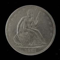 1861-O Ty'2 Rev LIBERTY SEATED HALF DOLLAR 50c EF40