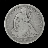 1861-O Ty'2 Rev LIBERTY SEATED HALF DOLLAR 50c VG8