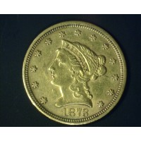 1873 Cl3 LIBERTY $2 50 GOLD $2.50 AU50