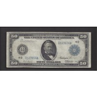1914 Blue Seal $50 FEDERAL RESERVE NOTE $50 F15