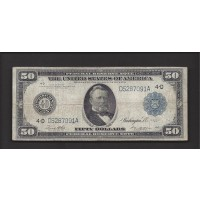 1914 Blue Seal $50 FEDERAL RESERVE NOTE $50 F12