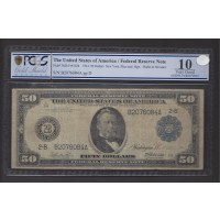 1914 Blue Seal $50 FEDERAL RESERVE NOTE $50 VG10 PCGS